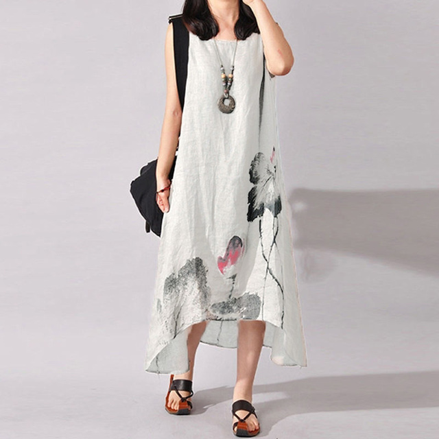 1393050760 Vintage Cotton Linen Dress Long Women Plus Size Clothing Sleeveless  Irregular Hem Ink Printed Summer Maxi Dresses Loose Sundress