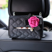 Camellia Car Back Seat Hanging Tissue Box Holder Flower Pearl Leather Paper Tower Organizer Storage Bag