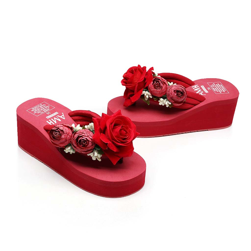 b8da8c55fc30 red rose summer woman wedge flip flops platform outdoor slipper floral cool  string beaded shoes women