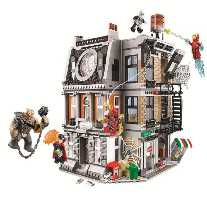 1044 pcs Super Héros Avengers Saint Des Saints Confrontation Rue coin 10840 Modèle Blocs de Construction Jouets Compatible Avec legoe