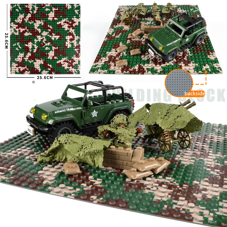 10x10 5x10 inch Camouflage Military Baseplate Small blocks 32*32 dot 25x25cm building bricks DIY base plate Figure Boy Toy Board new 2017 updated version small bricks base plate 32 32 dots 25 5 25 5cm 10x10 diy building blocks baseplate toy figures 14 col