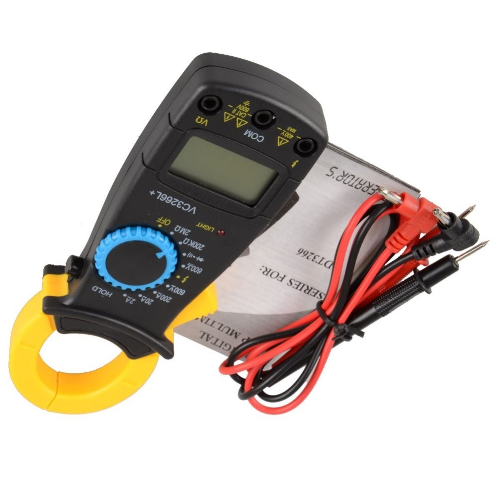 LCD Display Digital Multimeter Handle AC Digital Clamp DT3266L Digital Clamp Meter Probe Without Battery Drop Shipping Wholesale auto range clamp style digital multimeter with strap dt3266l