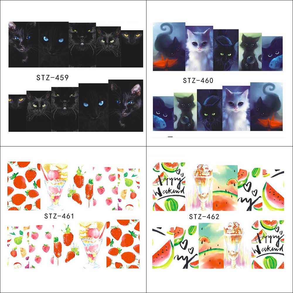 15 pçs água decalques conjuntos de etiqueta do prego slider flor animal gato preto boneca russa morango verão completo prego ferramenta TRSTZ455-469