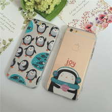 Ultra-thin cute penguins winter product for apple iPhone7 case following the iphone 6 case 6plus 6s 7plus  CASE transparent case