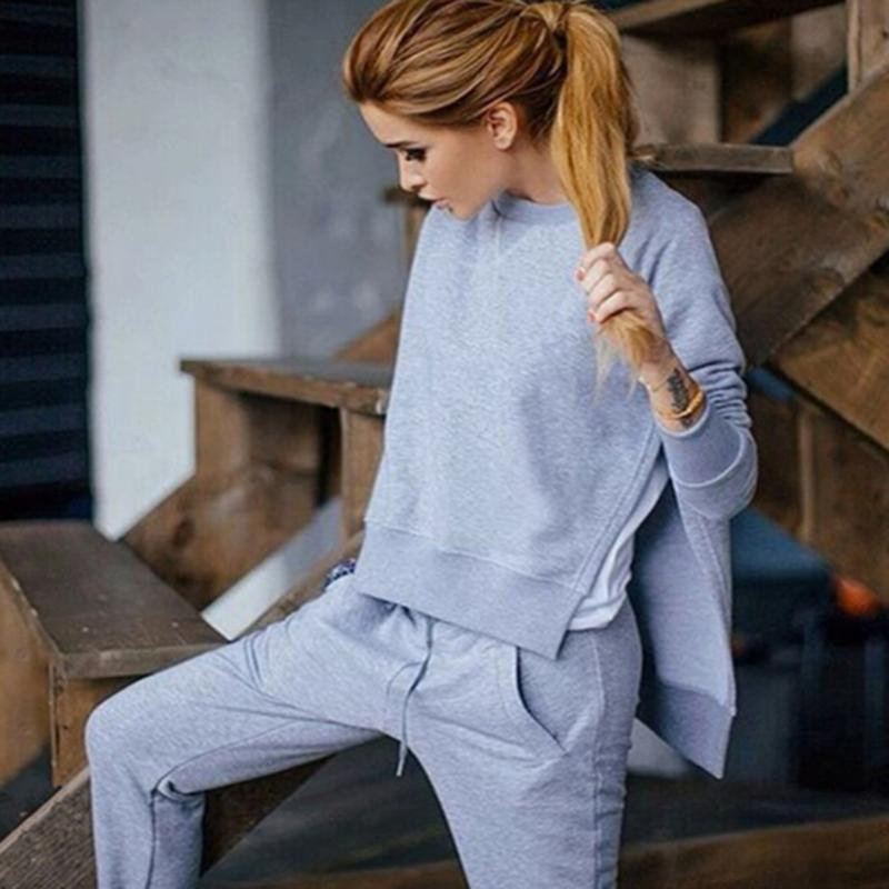 2018 Autumn Winter Women Cotton Tracksuit 2 Piece Set Clothing Fashion Casual Solid Sportwear Suit Woman