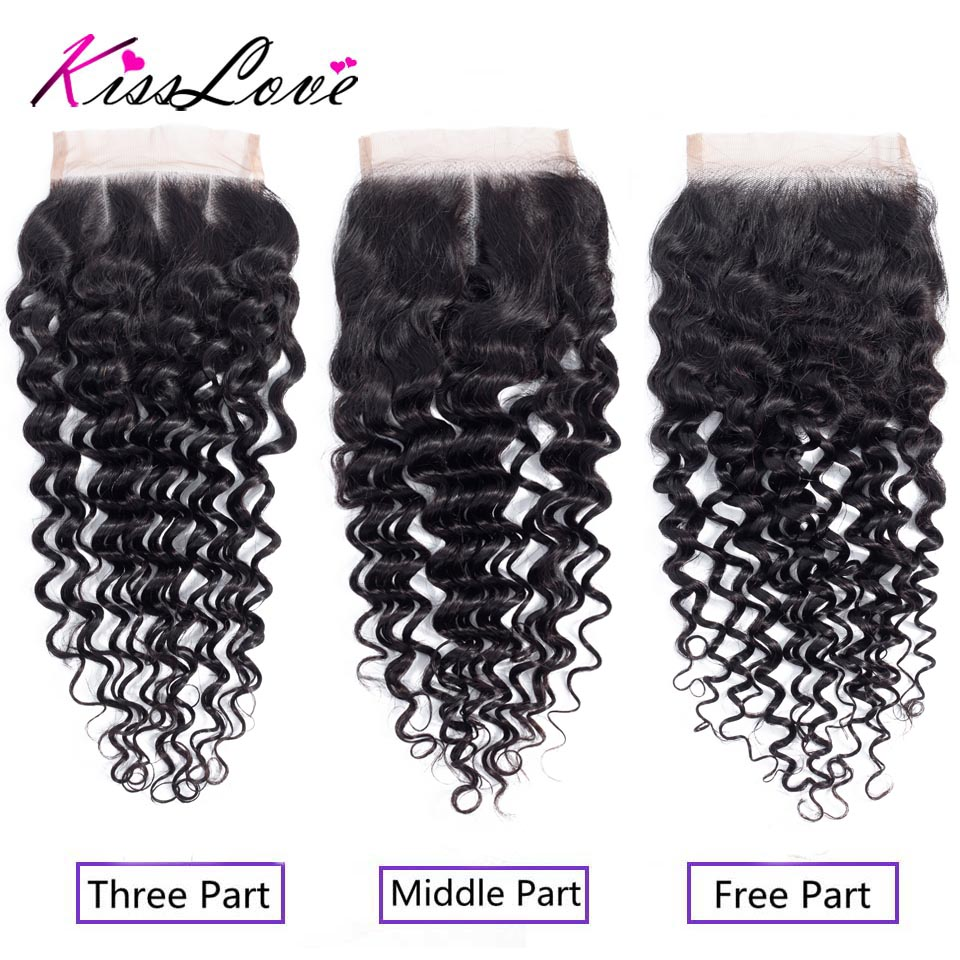 Brazilian Deep Wave Free Middle Three Part Lace Closure 8-20 Inch 100% Remy Human Hair Natural Color Free Shipping