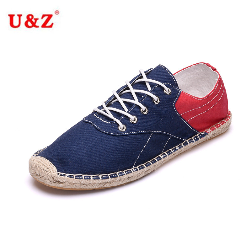 ФОТО Cool yet Functional Spring Summer Canvas Espadrilles color blocking Loafers Blue/White/Black,Men Linen breathable Casual shoes