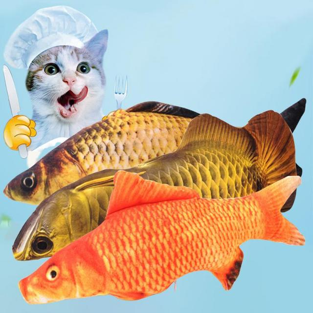 1 pz Nuovo Popolare Gatto Giocattoli di Simulazione di Pesce Peluche Peluche Ani