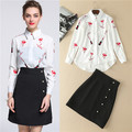 2017 Runway Designer Spring Women Skirt Suits lipstick lip printed long sleeve white blouses and black Skirt Women Clothes Set