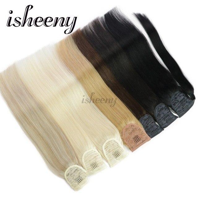 """Isheeny бразильские человеческие волосы Remy конский хвост для наращивания прямые 14 """"18"""" 22 """"Клип в человеческие волосы для наращивания"""