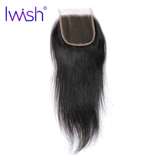 Iwish Brazilian Remy Hair Straight Swiss Lace Closure 4×4 inch Free Part 100% Human Hair 8-20 inch Free Shipping