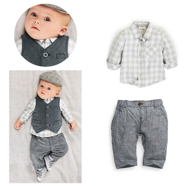 new 2015 autumn Baby suit gentleman boys clothing set vest+long-sleeves shirt+ long pant/Popular style bebe clothes