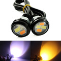 1 piece 5630 4-SMD 23MM Dual colors Switchback Xenon white Eagle Eye Lamp LED Daytime Running Light DRL with Yellow Turn Signal