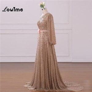 Image 5 - Vestido de noche Formal musulmán elegante mangas largas con abalorios Vestido de fiesta de boda con cinturón de flores Vestido Longo 2018 hecho a medida