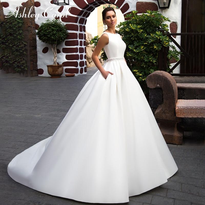 Satin Wedding Dress 2019: Ashley Carol Simple Backless Satin Wedding Dress 2019