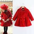 Baby Girls Autumn Winter Fashion Casual Cotton Wool Coat Button Clothes Kids Solid Outerwear Children Blends Clothing 5pcs/LOT