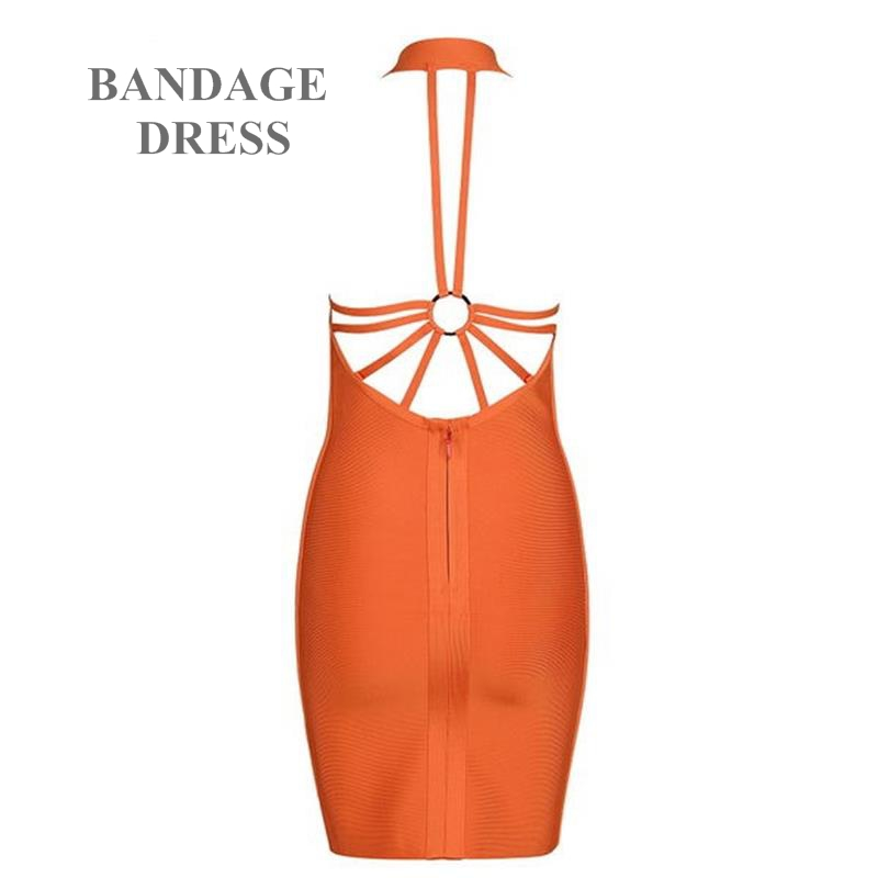 2017 New Arrival High Quality Summer Dress Sexy Backless Spaghetti Strap V-Neck Women Orange Mini Party Bandage Dresses