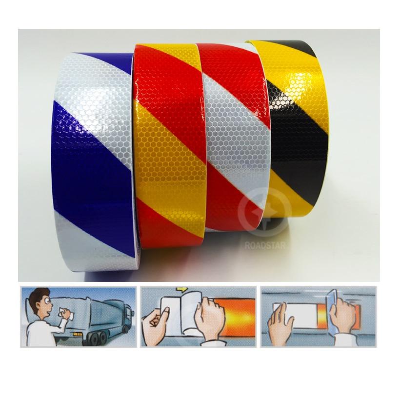 5 cm x 50 m reflecterende tape zelfklevende rood-witte stralende - Accessoires voor auto-exterieur - Foto 3