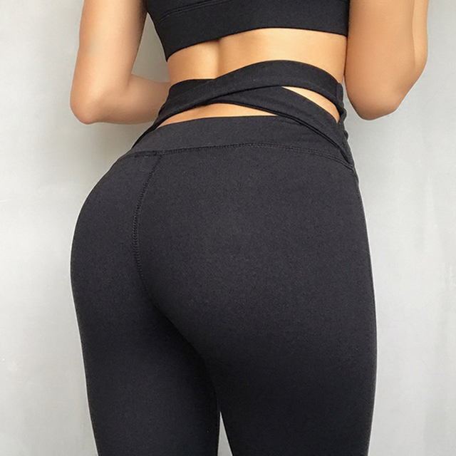 045c91c86e131 LucyLizz Women High Waist Yoga Pants Cross Back Yoga Legging Flattering Workout  Sports Pants Fitness Clothing