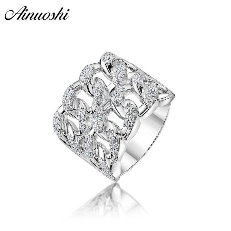 AINOUSHI Classic 925 Sterling Silver Men Wedding Engagement Twisted Hallow Ring Male Silver Anniversary Ring Party Gifts Jewelry
