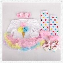 4PCs per Set Rainbow Ice Cream Baby Girls Long Sleeves Tutu Dress Headband Shoes Leggings for 0-12months Free Shipping