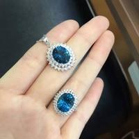 Природный Голубой Топаз Gem Jewelry комплекты природных драгоценных камней кольцо кулон Серьги 925 серебро Стильный Круглый Большой Диан женщин