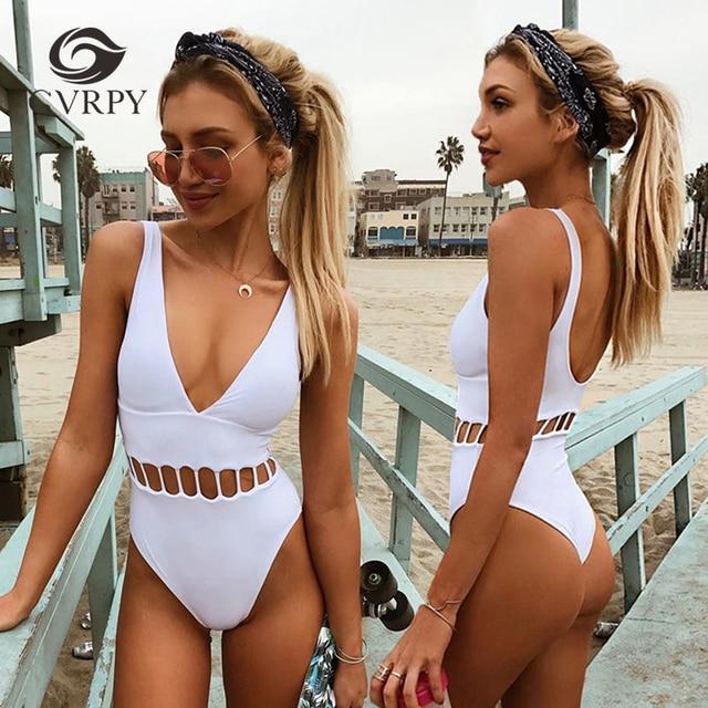 Wit Badpak.Een Stuk Badmode Vrouwen Wit Badpak 2017 Nieuwe Dames Sexy Diepe V