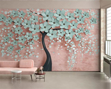 beibehang High quality silk material 3d wallpaper tree Flower modern tv Home background wall decoration behang