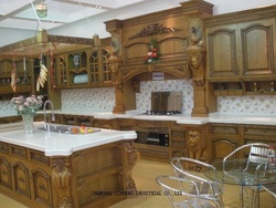 Роскошный кухонный шкаф из цельного дерева (LH-SW032)