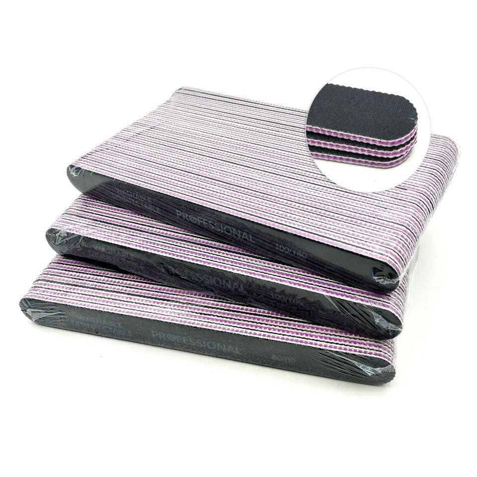 25Pcs/lot EVA Nail File Buffing 100/180 Black Diamond Sandpaper Sanding Nail Buffer Washable Manicure Pedicure Accessoires Tools