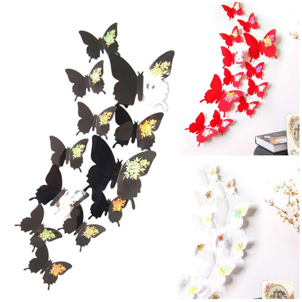 12 шт. винил Наклейки на стену бабочки Наклейки на стены 3d Наклейки на стену декоративные Гостиная Домашний Декор Adesivo де Parede
