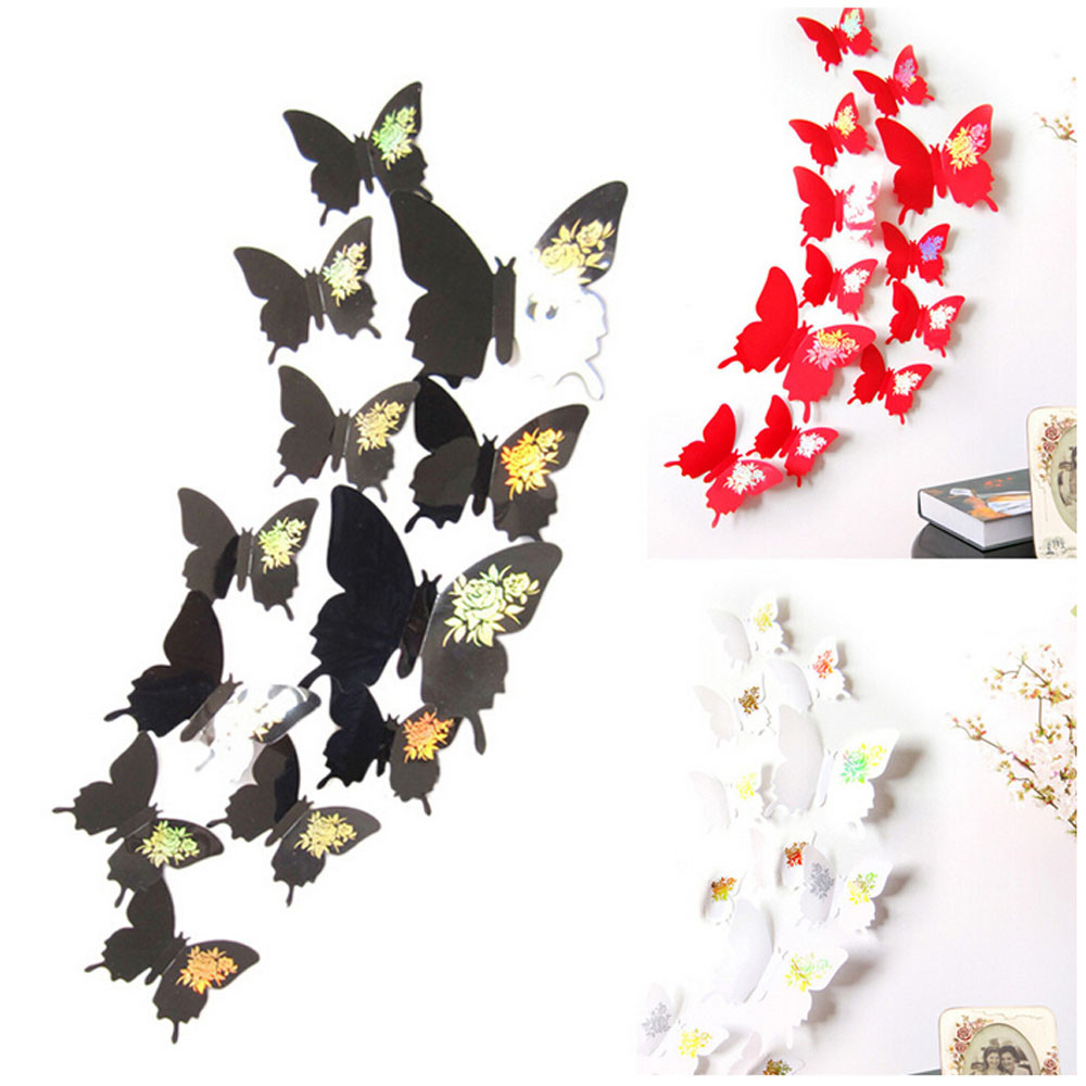 12 pcs Vinyl Wall Stickers Butterflies Wall Decals 3D Wall Stickers Decorative Living Room Home Decor Adesivo De Parede