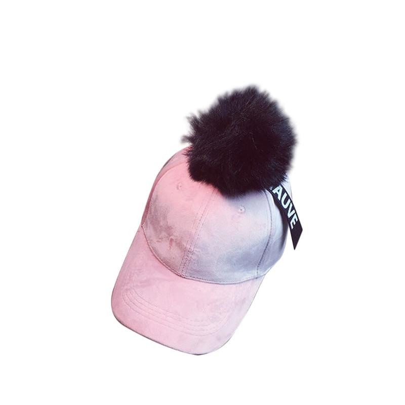 Women's Hats Faux Fur Pom Pom Ball Baseball Caps For Women 2017 Retro Vintage Ladies Hip Hop Dad Hats Gorras Knitted Trucker Cap Casquette