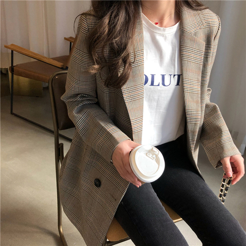 Office Ladies Notched Collar Plaid Women Blazer Double Breasted Autumn Jacket 2018 Casual Pockets Female Suits Coat Pakistan