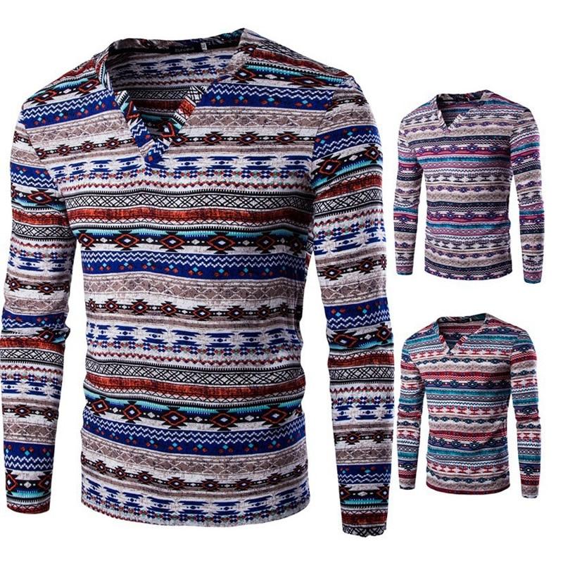 Fashion Men s Shirt Africa Indian Vintage Folk Ethnic Style T shirts Homem Cotton Geometric Print