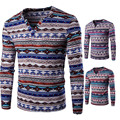Fashion Men's Shirt Africa Indian Vintage Folk Ethnic Style T-shirts Homem Cotton Geometric Print Long Sleeve V-neck Tops 21