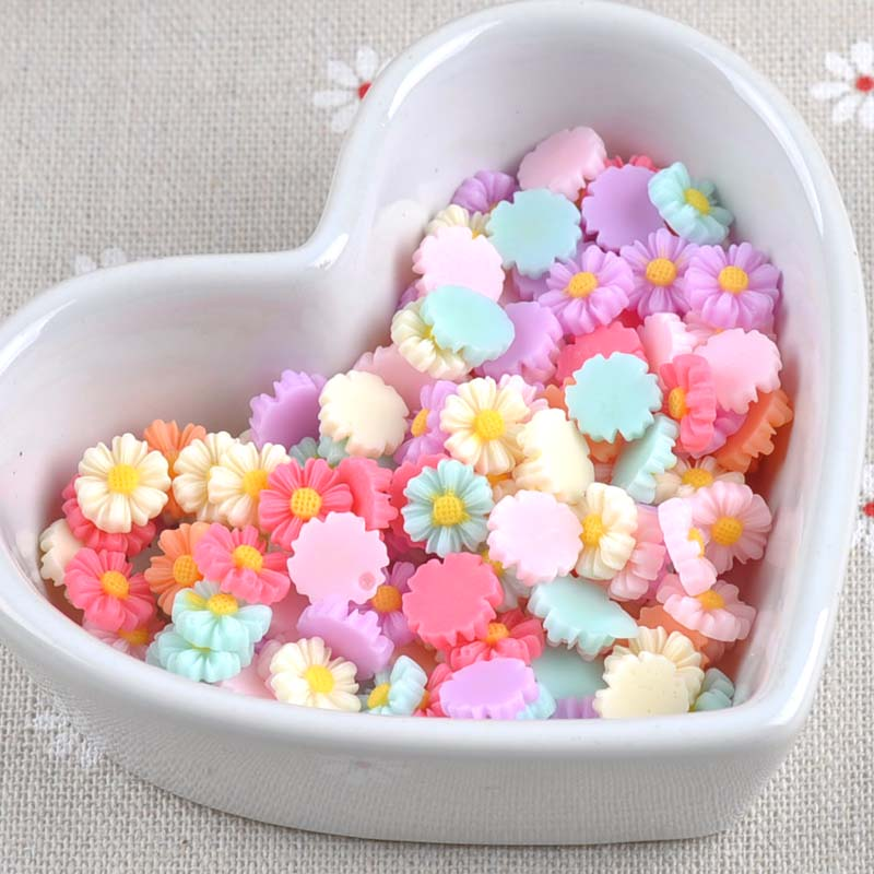 100PCS Daisy Flower Flatback Resin Cabochons Scrapbook Craft 10mm DIY Embellishments Phone Decor Headwear Accessories CP1862