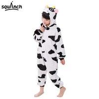 Animal Pajama Party Kids Onesie Cow Costume Winter Children Warm Sleepwear Cartoon Cute Boy Girl Pyjama