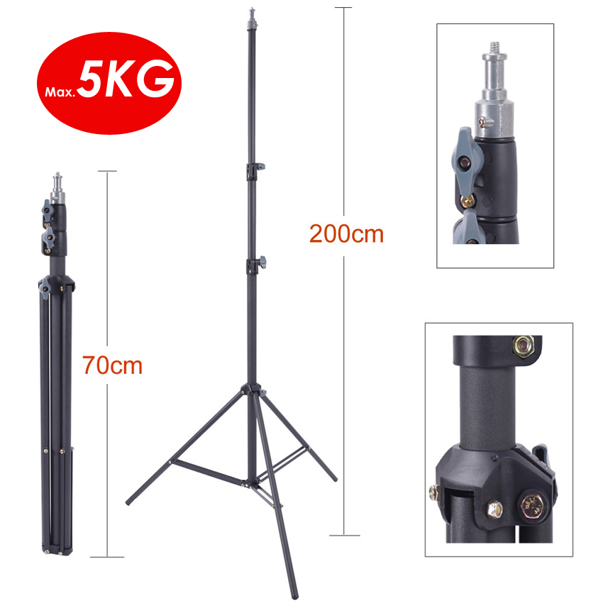 200cm Heavy Duty Steel Photograhy Studio Light Stand Max Load 5KG 6ft 2m For Photo Video Softbox Bracket Strobe Holder Tripod