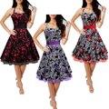 Одри хепберн стиль ретро повод-образным вырезом ремень бальное платье цветочные платья халат Vestidos женщины готический высокая талия Vestidos платья