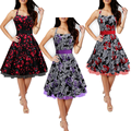Audrey Hepburn style  Retro Halter Neck belt ball gown floral dress robe vestidos women Gothic  High Waist Vestidos dresses
