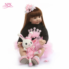 NPK 60cm  Reborn Toddler Princess Handmade Doll Adorable Lifelike Baby Bonecas Girl Kid Bebe Doll With Cloth Body