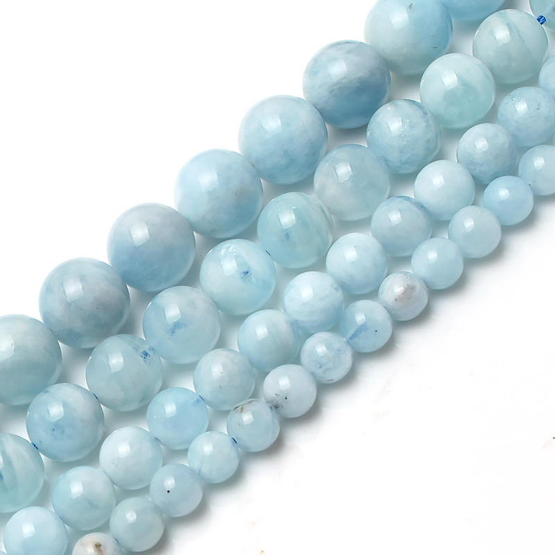 Loose-Spacer-Beads Necklace Jewelry Aquamarine-Stone Making Natural 15inches/strand Bracelet
