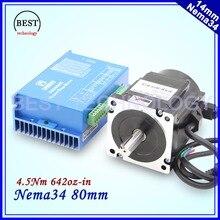NEMA 34 замкнутой шагового двигателя 4.5Nm 5A 642Oz-in гибридный шаговый двигатель Nema34 закрыть двигателя петли драйвер DC (40-110 В)/AC (60-80 В)