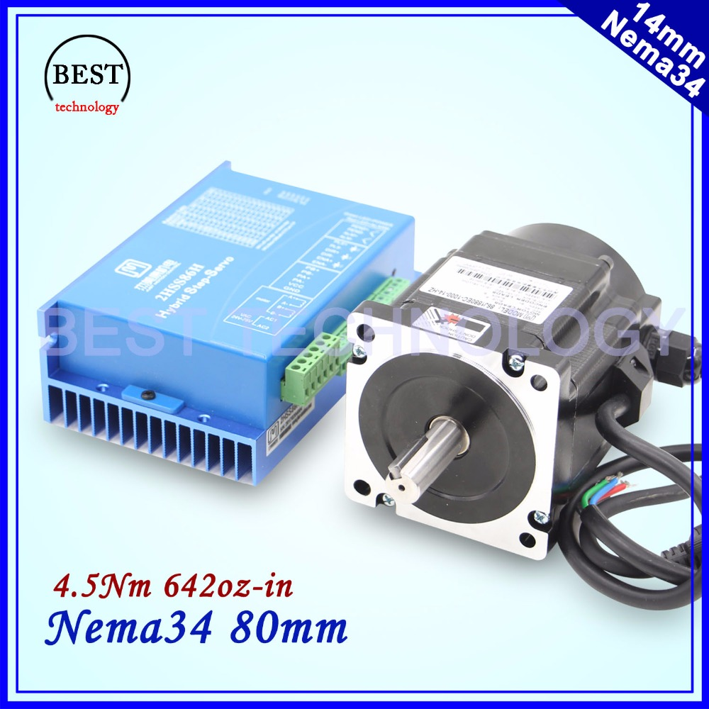 NEMA 34 Closed Loop Stepper Motor 4.5Nm 5A 642Oz-in Hybrid Stepping Motor Nema34 Close Loop Motor driver DC(40-110V)/AC(60-80V)