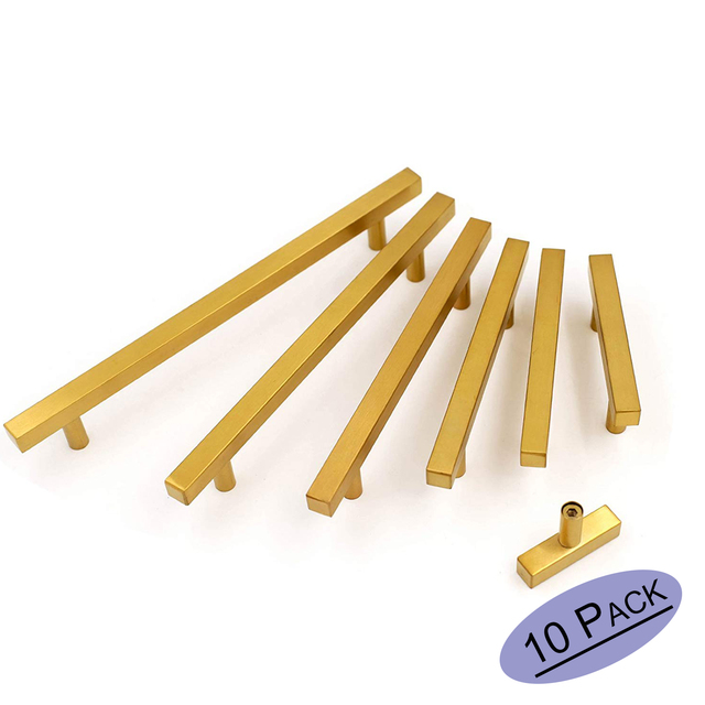 10Pack Gold Drawer Pulls Kitchen Brass Cabinet Handles