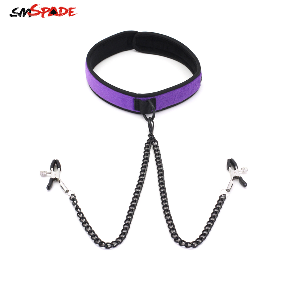 Soft Plush Adjustable Bondage Collar with Nipple Clamps
