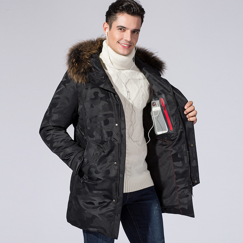 2018 New Winter Men Warm Long Down Jacket Men Hooded Fur Collar White Duck Down Coat