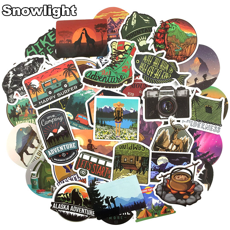 50Pcs/lot Adventure Travel World Monuments Graffiti Stickers Fo Phone Laptop Luggage Guitar Skateboard Bike Car Sticker