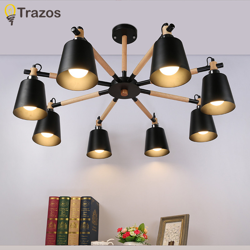 TRAZOS Northern Europe wood LED ceiling lights living room bedroom children's room ceiling lamp modern lustres de sala plafon rh loft wood e27 led bulb ceiling lights fixture home deco living room iron ceiling lamp modern lustres de sala plafon